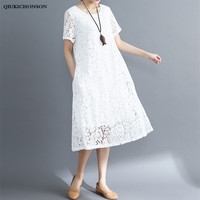 Qiukichonson Black White Lace Dress Women 2018 Casual Summer Long Dresses Plus Size Ladies Big Size Midi Dress with pockets