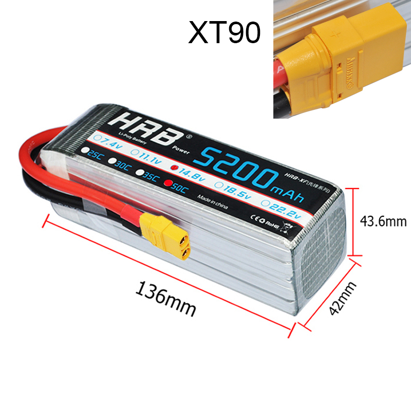 HRB Lipo Battery 4S 14.8V 5200mAh 50C Max 100C for RC Drone Quadcopter Boat Airplane 700 HelicopterHRB Lipo Battery 4S 14.8V 5200mAh 50C Max 100C for RC Drone Quadcopter Boat Airplane 700 Helicopter