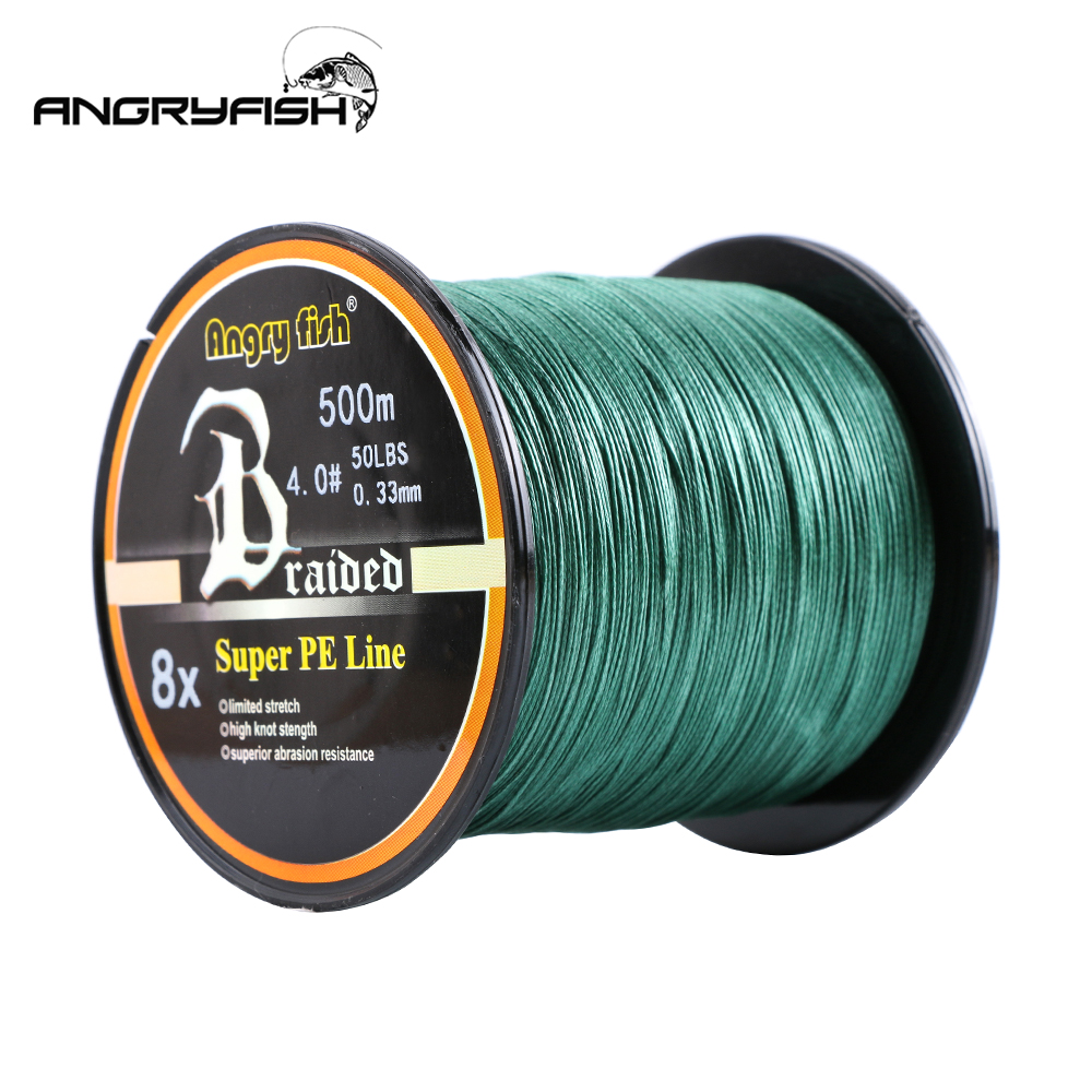Angryfish Wholesale 500 Meter 8X Flätad Fiske Line 11 Colors Super Strong PE Line