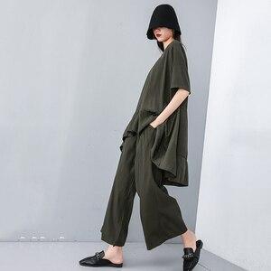Image 5 - Женский костюм из двух предметов EAM, черный свободный костюм с V образным вырезом, коротким рукавом и широкими штанинами, большие размеры, весна осень 2020