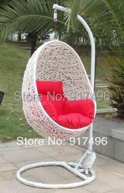 Jufeng Rattan Bird Nest Outdoor Swing Hanging Basket Chair Leisure Cushion
