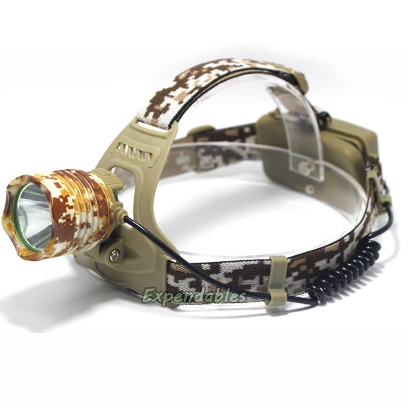 CREE XM-L T6 LED Camouflage 3000 Lumen Headlamp Headlight Head Torch camping Lamp Light +2x Battery+Car EU/US/AU/UK Plug Charger