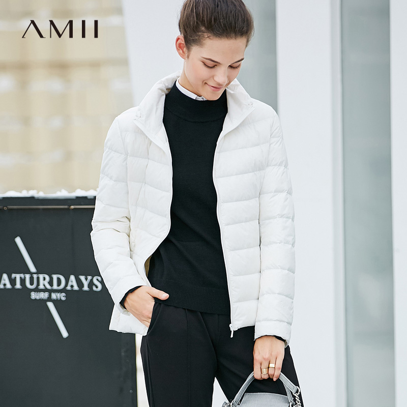 Amii Minimalist Women 2018 Winter Short 90% White Duck Down Coat Stand Collar s Female Fashion Light Jacket Coats