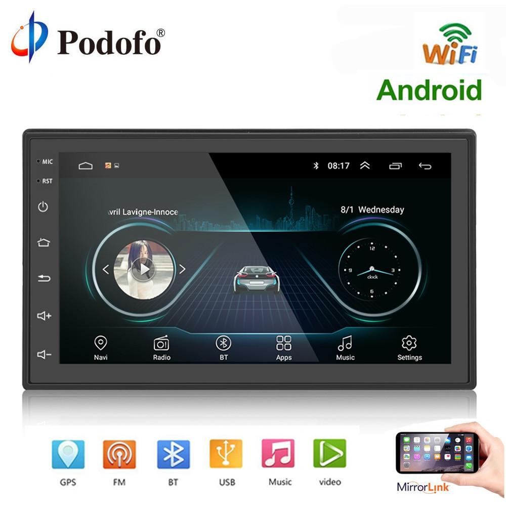 Podofo 2 din Autoradio Android lecteur multimédia MP5 Navigation GPS Wifi 7