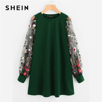 SHEIN Green Preppy Elegant Botanical Embroidered Mesh Sleeve Longline Pullover Sweatshirt Autumn Casual Campus Women Sweatshirts
