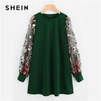 SHEIN Green Preppy Elegant Botanical Embroidered Mesh Sleeve Longline Pullover Sweatshirt Autumn Casual Campus Women Sweatshirts