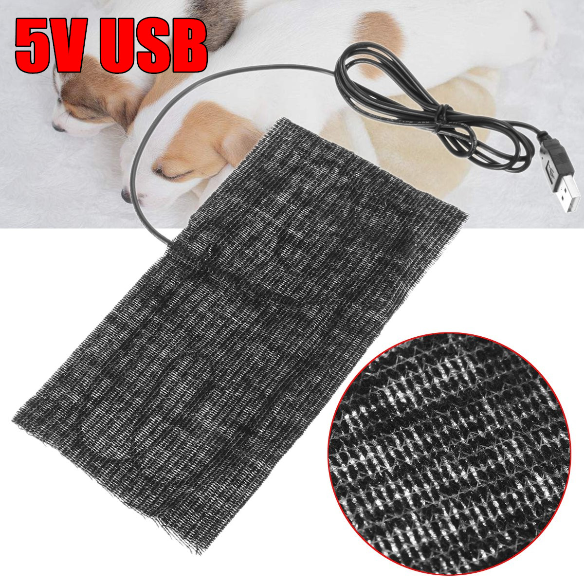 BSAID 5V Electric Cloth Heater Pad, Thermal Heating Pad Element Insoles Pet Warmer For Winter, Heated Pads Unisex Portable USB 5v usb electric clothes heater sheet adjustable temperature winter heated gloves for cloth pet heating pad waist warmer tablet