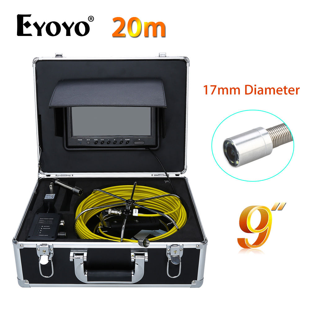 Eyoyo 20M 9 LCD 1000TVL 17mm 120degree Wall Drain Sewer Pipe Line Inspection Camera System CCTV HD Cam Snake Inspection Color eyoyo 7 lcd screen 20m 800 480 1000tvl 4500mah sewer drain camera pipe wall inspection endoscope w keyboard dvr recording 8gb