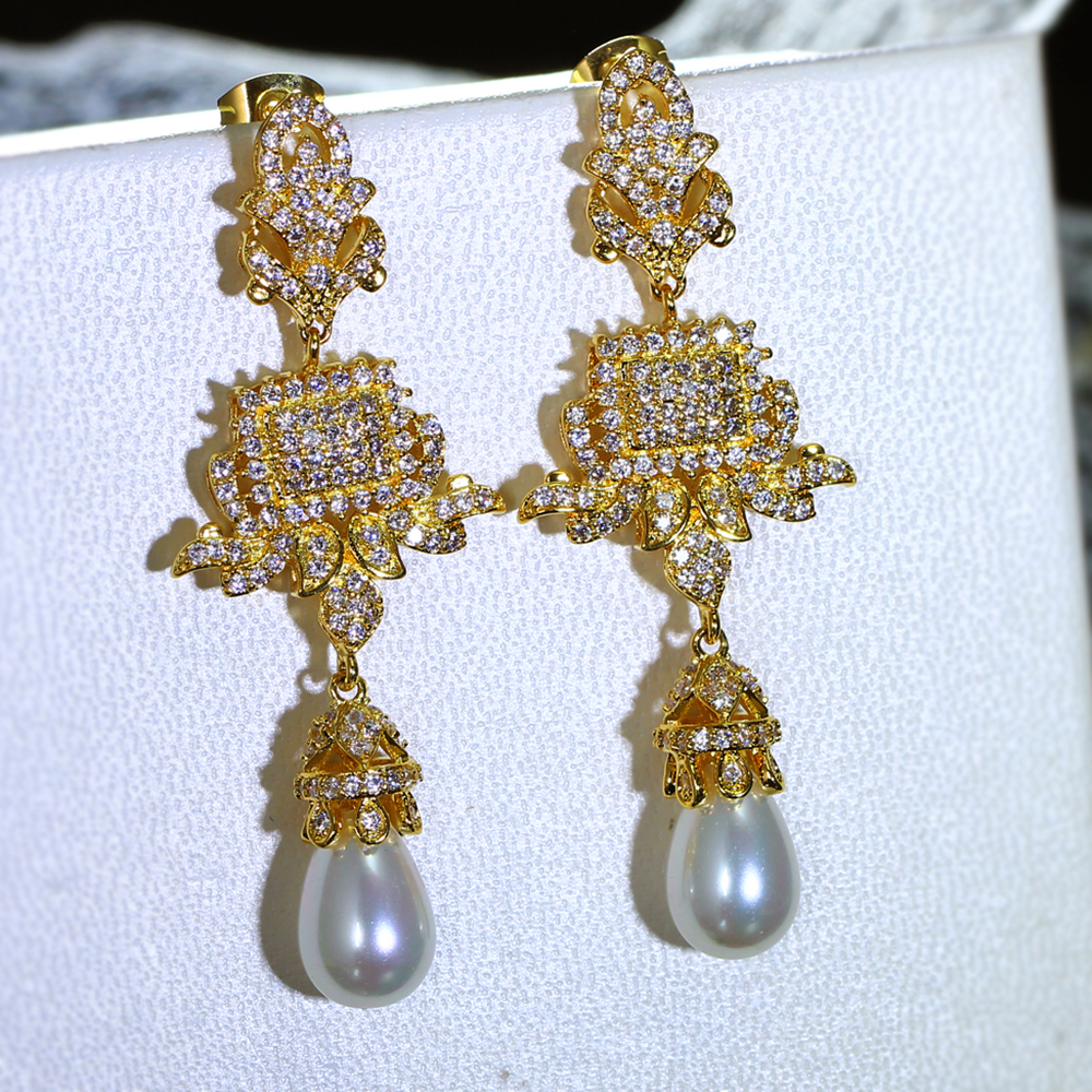Luxury Long Dangle Earrings For Women Gold Color White Cubic Zircon Water Drop Pearl Wedding Party Penntes Mujer In From
