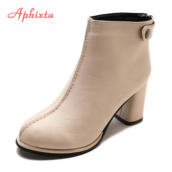APHIXTA Ankle Boots For Women Soft Leather Ankle Boots Women Winter Shoes Women Square High Heel Boots Shoes Button And Zip
