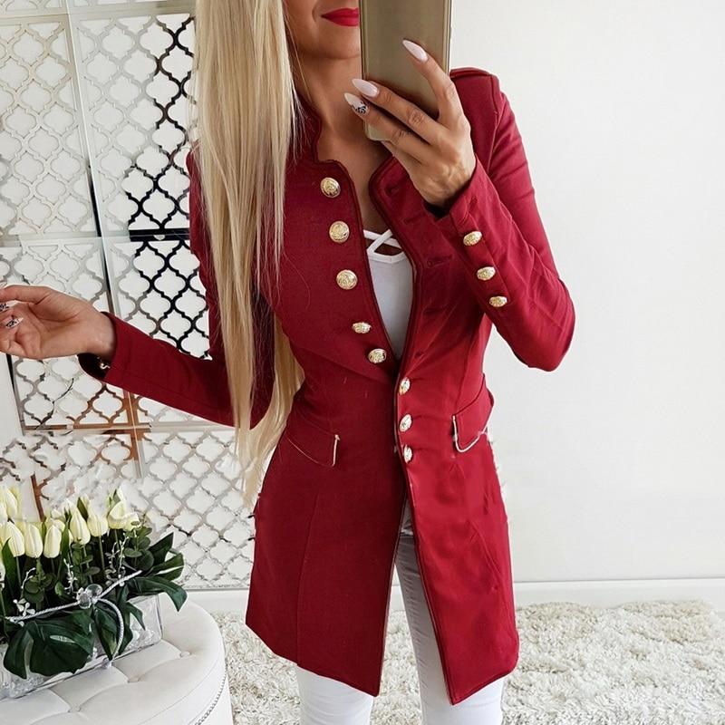 LASPERAL Brand Women Vintage Blazer Autumn Long Sleeve Slim Fit Ladies Blazer Casual Button Office Lady Workwear Jacket Coat
