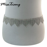 2017 Fashion Full Rhinestone Belly Chains Silver Plated Crystal Tassel Waist Chain Belly Body Chain Body