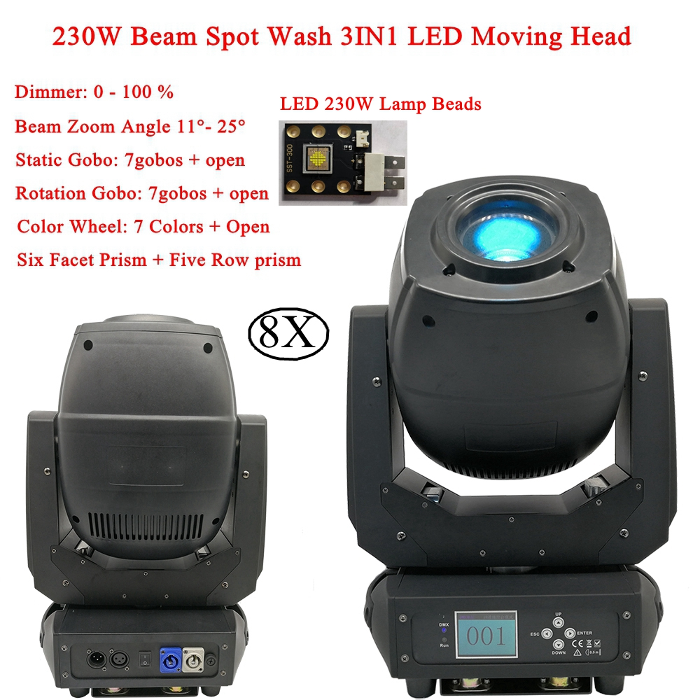 8Pcs/Lot 230W Beam Spot Wash 3IN1 Moving Head Disco Light LED DMX 6/18 Channels Bar Professional Party Ktv Stage DJ Equipment