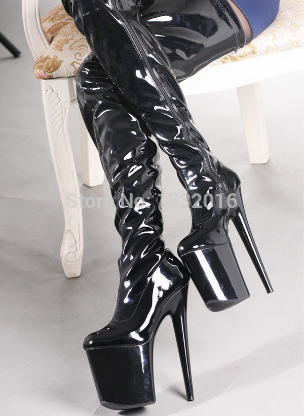 Sex fetish Women black stylish lace up three buckles thigh high ...