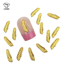 LEAMX 10 PCS/bag Gold 3*10mm Leaf Nails Art Decoration New 3D Nail Charms Alloy Jewelry For Manicure Feather Accessory L396