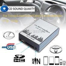 USB SD AUX MP3 reproductor de música del coche Adaptador de Interfaz de Cambiador de CD para Toyota Lexus Scion Corolla Camry, kit de coche car-styling