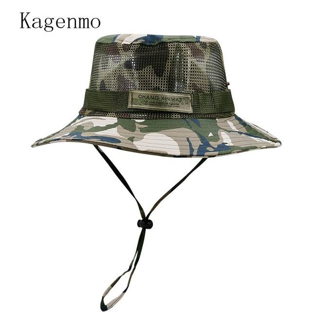 46d3338b8e5ee Kagenmo 2018 New Style Fish Hat Male Atjustable Rope Jungle Cap Camouflage  Female Travel Bucket Hats Outdoor Leisure Stroll Caps