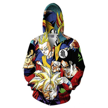 Men Zip Up Hoodies Dragon Ball Super Jacket 3D Vegeta Kid Goku Printed Anime Hooded Cosplay Zip Up Sweatshirt Coats zip up two tone hooded track jacket