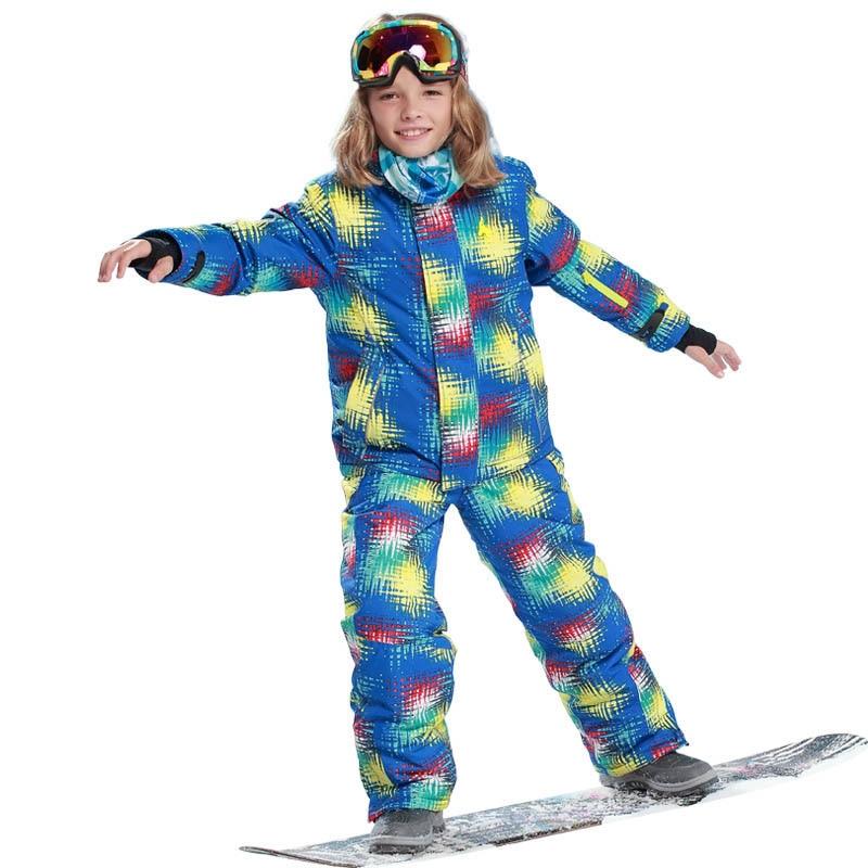 Здесь можно купить  2018 Children Set Ski Jacket + Pants 2pcs Sets Winter Outdoor Ski Sports Suit for Boys Clothes Suit Windproof Waterproof  Детские товары