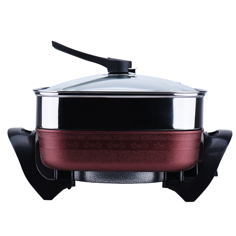 Korean Style 5L Multifunctional Electric Hot Pot Food Steamer Stainless Steel Wok No-Smoke Non-stick Pot with Double Tube 220v 600w 1 2l portable multi cooker mini electric hot pot stainless steel inner electric cooker with steam lattice for students