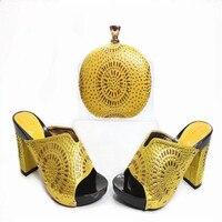G33 Cristal de Ouro Da Moda Sapatos Italianos E Bag Set Mais Recente Africano Casamento Sapatas Dos Saltos Altos Com Cluch Saco À Venda