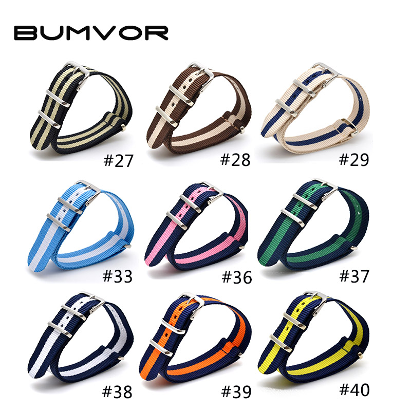 Wholesale 18 mm Multi Color Sky Blue Army Sports nato fabric Nylon watchband Strap Accessories Bands Buckle belt 18mm for Watch