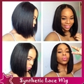 Short Bob Synthetic Wigs For Black Women Natural Straight Synthetic Lace Front Wig Black Full Hair Glueless No Lace Wig In Stock