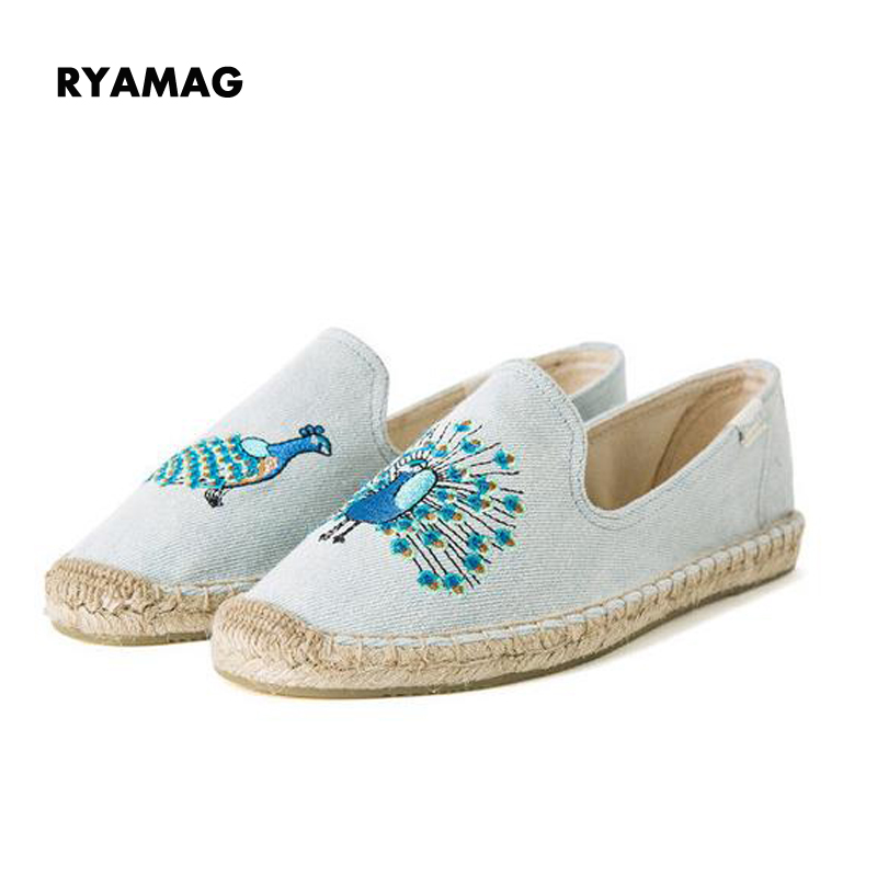 купить 2018 New Arrival Blue Flamingo Embroider Comfortable Ladies Womens Casual Espadrilles Shoes Breathable Flax Hemp Canvas онлайн