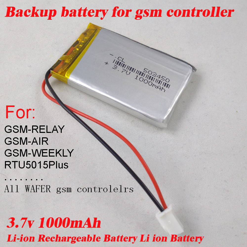 Free shipping 3.7V 1000mAh Battery li-po Batteries Rechargeable battery for gsm relay rtu5015 plus intercom relay controllers 1pcs 100% orginal firefox 11 1v 1500mah 15c li po aeg airsoft battery f3l15c drop shipping