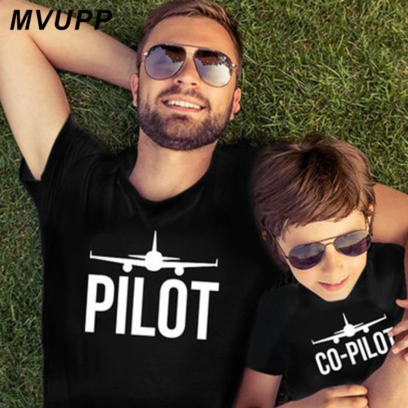 PILOT Family Matching Clother Father And Son T Shirt For Dad Baby Boy Outfits Daddy Me Look Plane Cool Big Little Bother Top Tee