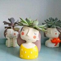 New Mini creative cartoon characters flowerpots indoor green fleshy plants flower pot Lovers Gift Free shipping X0706