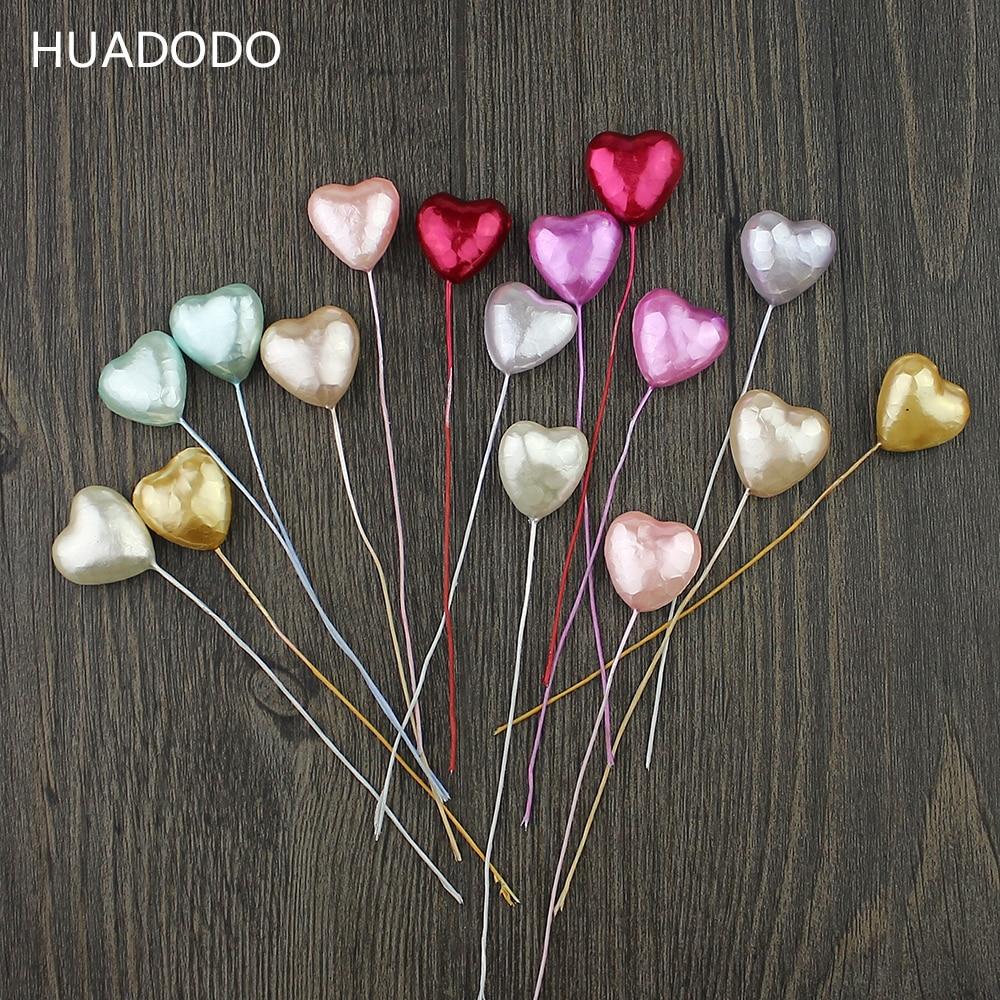 HUADODO 10pcs Foam heart Stamens Artificial Flowers Handmade for Wedding Christmas Scrapbook  wreaths Decoration