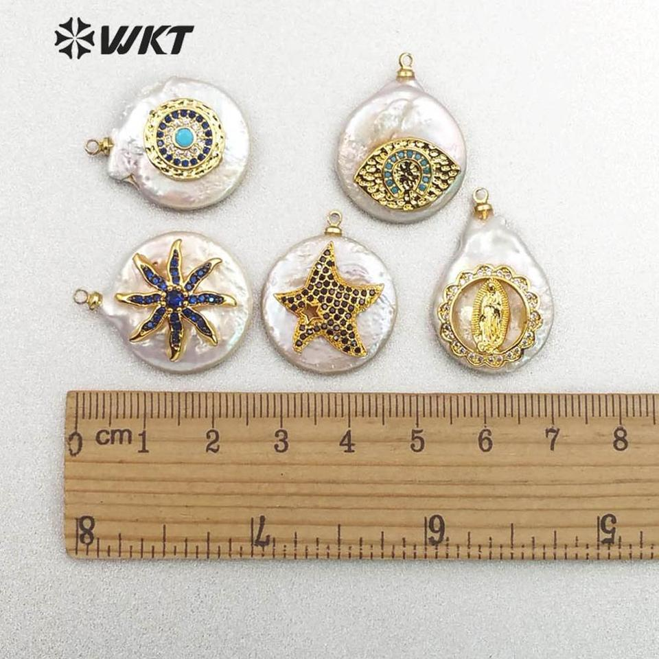 MP129 Carved Shell/& CZ Pendant Petal Shell With Moon Sun Evil Eye Hamas Cross Charm Handmade Jewelry Women Necklace Pendant