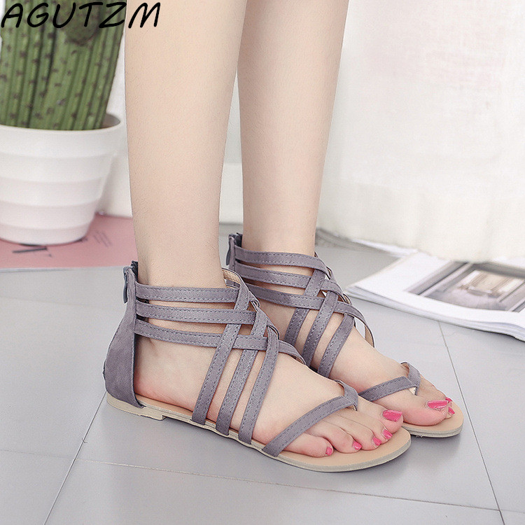 AGUTZM Women Shoes Sandals Comfort Sandals Summer Flip Flops Fashion High Quality Cross Strap Flat Sandals Gladiator Sandalias