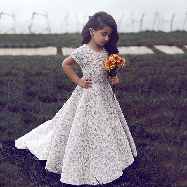Cute O Neck Short Sleeve A Line Sash Lace Flowers Girl Dresses Little Girl  Pageant Dresses a1d2325009bd