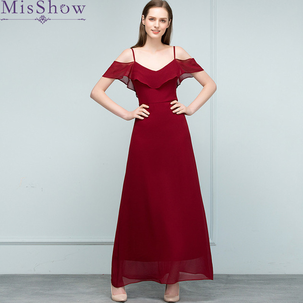 Burgundy Chiffon   Bridesmaid     Dresses   2019 Long for Women A-Line Sleeveless Wedding Party   Bridesmaid     Dress   Prom Gown   Dresses