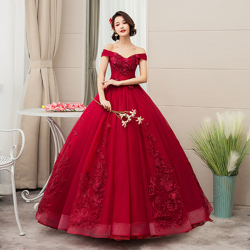15 Anos Debutante Wine Red White Boat Neck Quinceanera Dress Tulle Appliques Lace Sweet Ball Gowns Vestidos De Plue Size