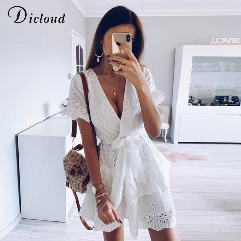 dcb050ca5894 ... DICLOUD White Embroidery Cotton Dresses Summer Women Short Sleeve  Casual Beach Sundress Sexy V Neck Hollow ...