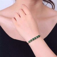 Natural fidelity hetian yu s925 silver inlaid bracelet silver inlaid yu bracelet movable adjustable/