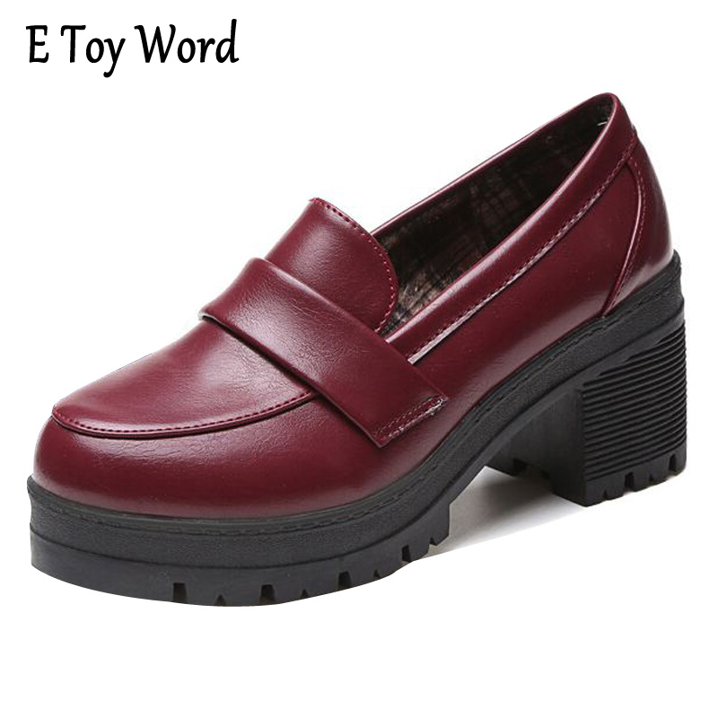E TOY WORD High Quality Leather Oxford Shoes For Women Slip-on Office Ladies Shoes Casual Round Toe Heels Women Shoes VE005 nayiduyun women genuine leather wedge high heel pumps platform creepers round toe slip on casual shoes boots wedge sneakers