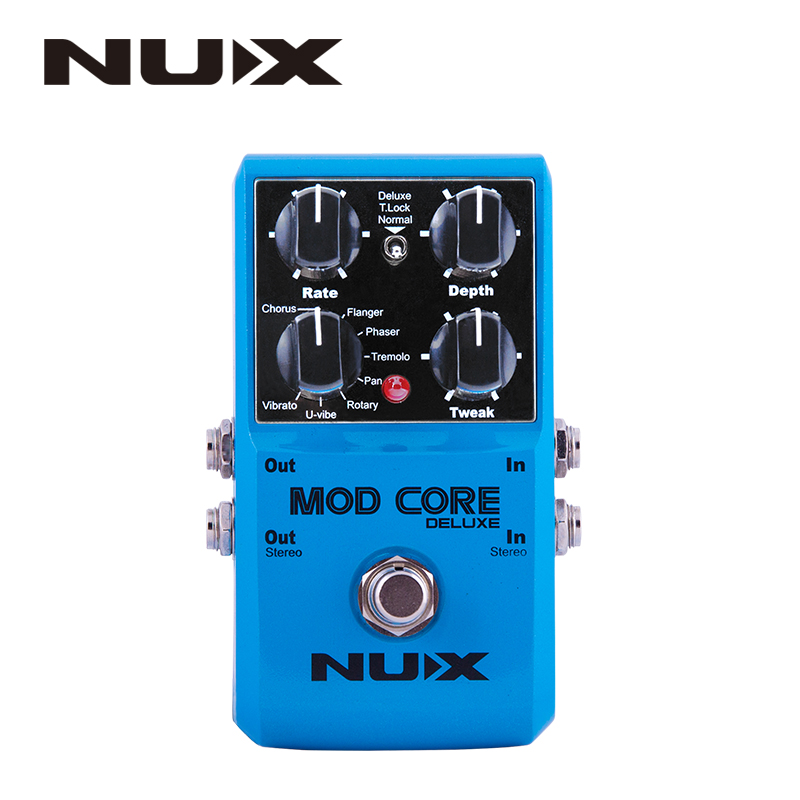 NUX Mod Core Deluxe Guitar Effect Pedal True Bypass 8 Modulation Effects Preset Tone Lock for Electronic Guitar and Bass nux metal core distortion effect pedal true bypass guitar effects pedal built in 2 band eq tone lock preset function guitar part