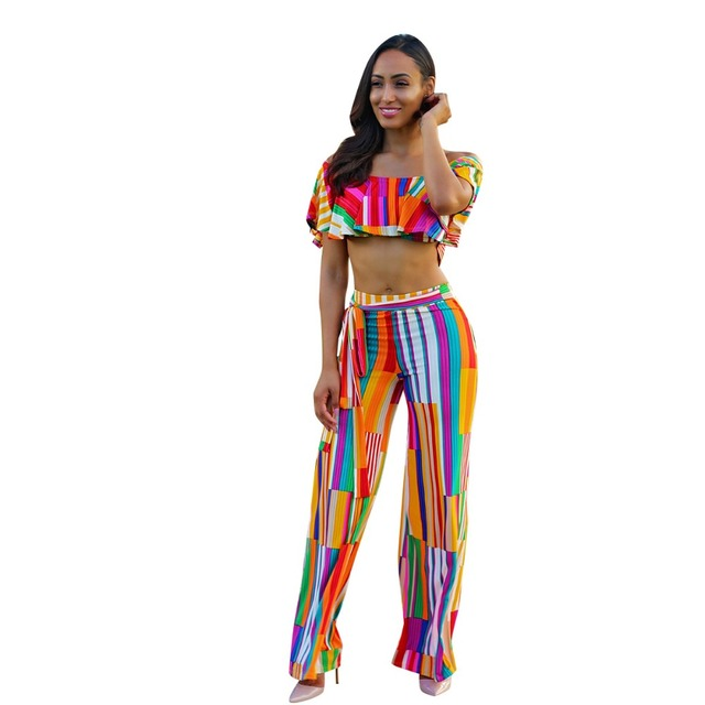 a72ad4546a9 Sexy Two Piece Jumpsuits 2018 Summer Women Off Shoulder Short Sleeve Sexy Striped  Jumpsuit Rompers Bodycon