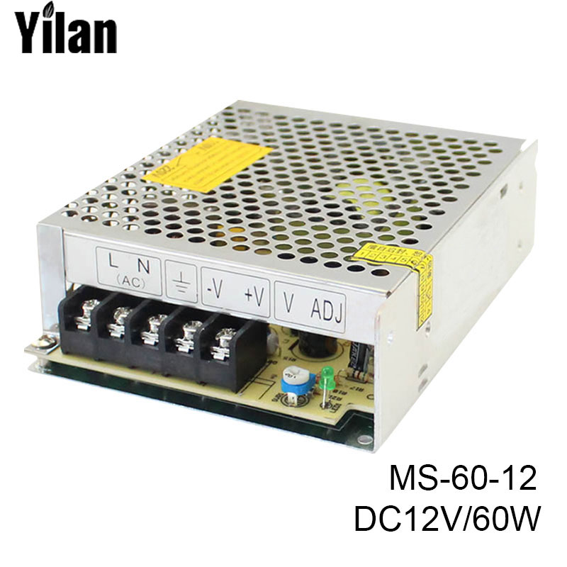 MS-60-12 Switching Power Supply Driver for LED Strip Light DC 12V Wonderful Gift best quality 12v 15a 180w switching power supply driver for led strip ac 100 240v input to dc 12v
