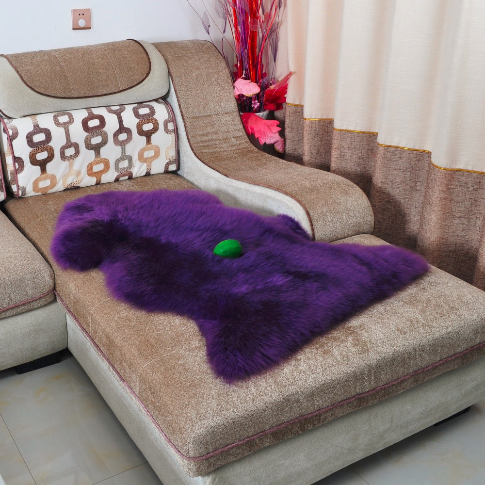 Purple Real Sheepskin Rug Fur Blanket Shaggy Bed Sheep Skin Carpet Home  Decor White Fur Sofa