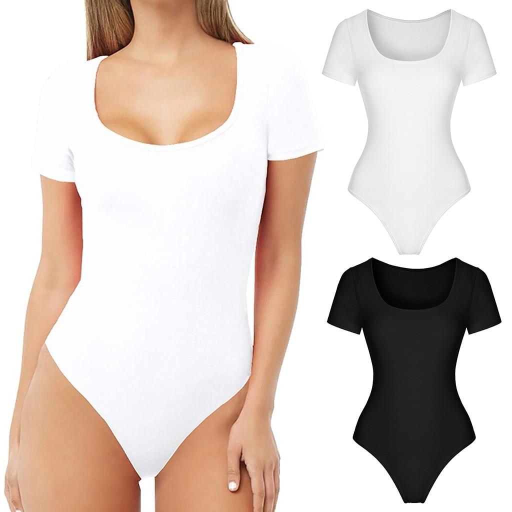 Summer New Solid Color Bodysuit Women's Short Sleeve Casual Comfort Scoop Neck T-Shirts Basic Bodysuits Jumpsuit Body Femme #C6