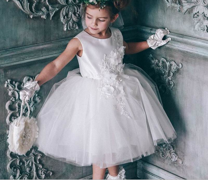 Retail Baby Girls Dresses Party Summer Princess Wedding Dress White Flower Girl Birthday Fluffy Dresses Children Clothes 9167 girls dresses summer 2016 performance clothing girls princess dress children dress flower wedding dress girls clothes