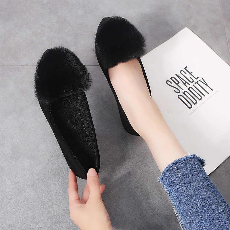 Sonbahar 2018 kadın Flats Sıcak Kürk Üzerinde Kayma Retro Düz Rahat Sivri Burun Rahat bale ayakkabıları Kış Kadın Sığ