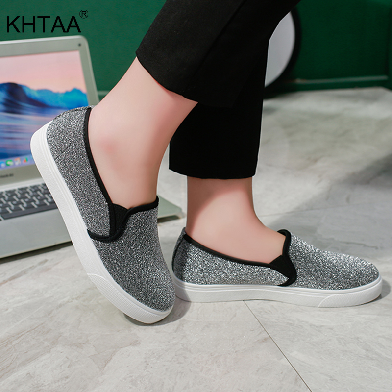 KHTAA Woman Platform Slip On Flat Shoes Glitter Elatstic Band Female Flats Fashion Ladies Footwear Casual Women Vulcanized Shoe hzxinlive 2018 flat shoes women breathable flats shoes for women ladies casual platform female fashion summer sneakers footwear