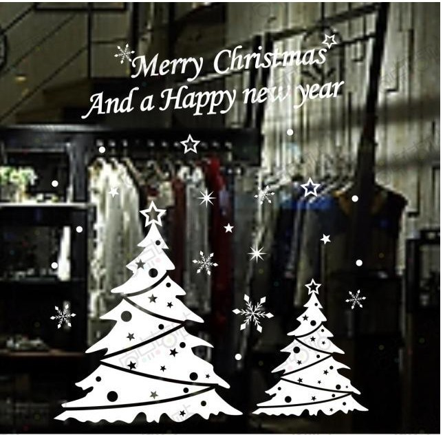 Free Shipping Christmas tree happy new year vinly PVC shop window ...