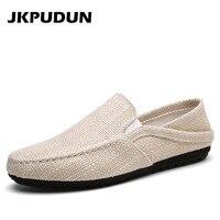 JKPUDUN Summer Men Hemp Shoes Espadrilles Designer Breathable Casual Boat Shoes Men Loafers Ultralight Lazy Shoes